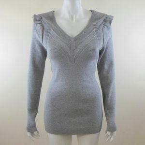 Torrid Gray Ribbed V-Neck Sweater sz 00 M/L 10